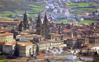 Старая часть города Сантьяго-де-Компостела, Испания — обзор